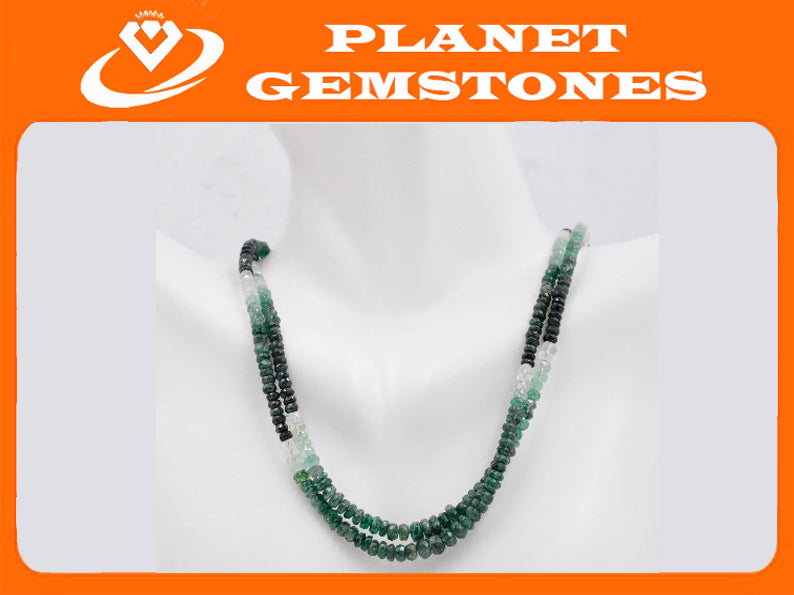 Natural Emerald Necklace Green Emerald Necklace Emerald Beads Green Gemstone beads Emerald stone beads emerald gemstone beads 2 -3mm-Emerald-Planet Gemstones