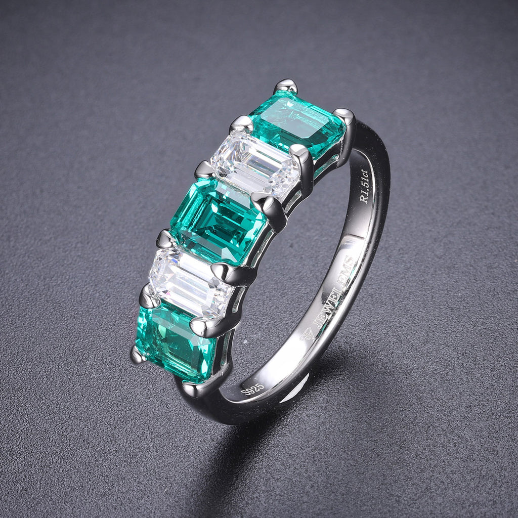 Women's Emerald semi band reversible ring SKU 6142090-Planet Gemstones