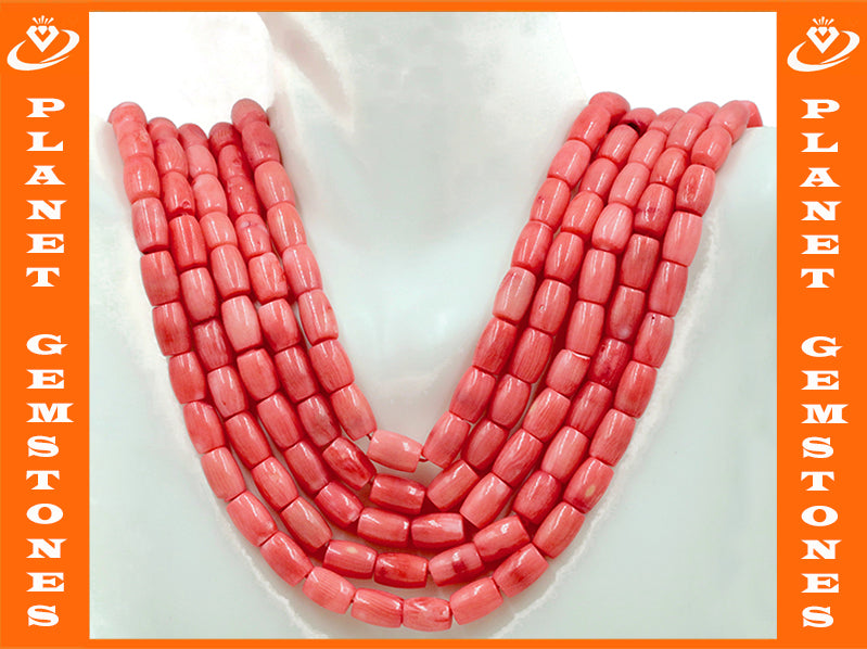 Natural Coral Beads Coral Necklace Italian Coral beads Pink Coral Beads Coral Beads Pink Coral Beads Coral Bead Necklace 10x7mm SKU:114638-Coral-Planet Gemstones