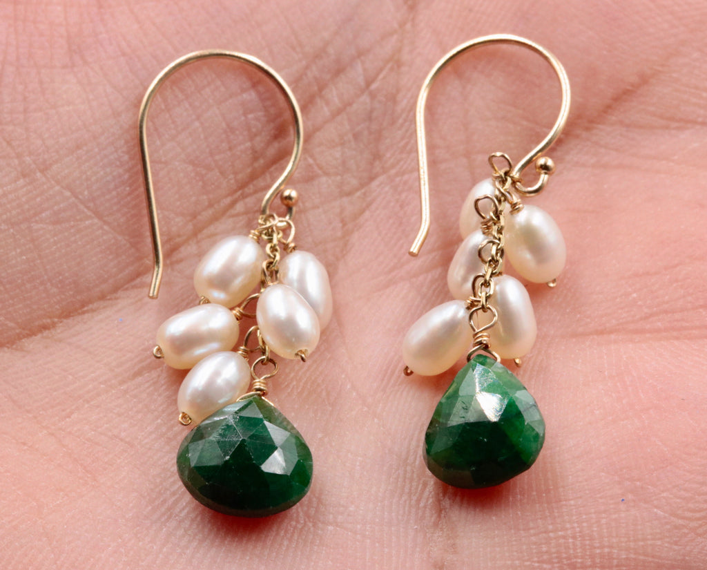 14KY Gold Emerald and Pearl earrings SKU:6142201-earrings-Planet Gemstones