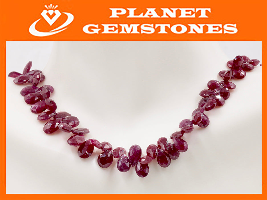 Natural Ruby Jewelry Ruby Unfinished Necklace July Birthstone Ruby Beads Ruby Briolette Drops Strand 5-8mm, 8.5 inches SKU:111298-Ruby-Planet Gemstones