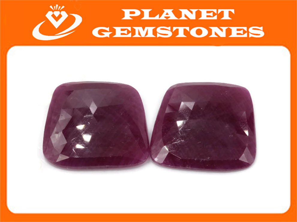 Natural Ruby DIY Jewelry Supply Ruby July Birthstone Rose Cut Ruby Gemstone Genuine Ruby Ruby pair 88.83ct 28mm Ruby Rose cut-Ruby-Planet Gemstones