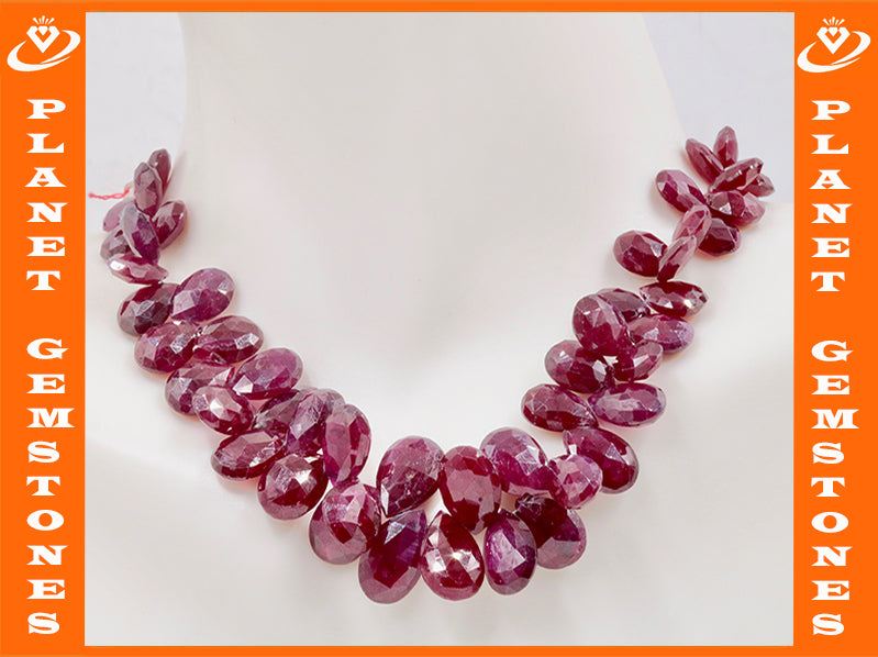 Natural Ruby Jewelry Ruby Unfinished Necklace July Birthstone Ruby Beads Ruby Briolette Drops Strand 5-9mm, 6 inches SKU:111299-Ruby-Planet Gemstones