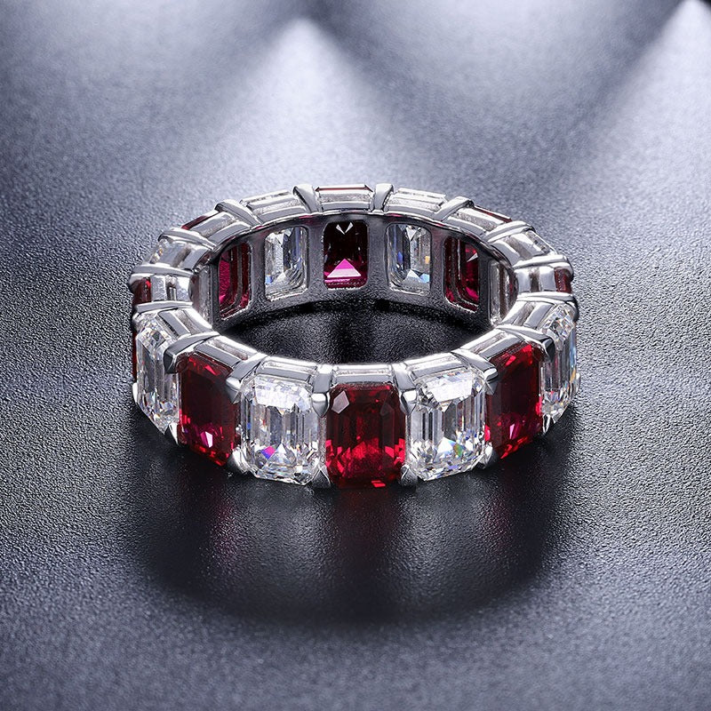 Ruby Necklace Ring Ruby charms Ruby Ring Eternity band ring Engagement band Ruby Wedding band Cubic Zirconia ring CZ eternity band SKU:6142036-Planet Gemstones