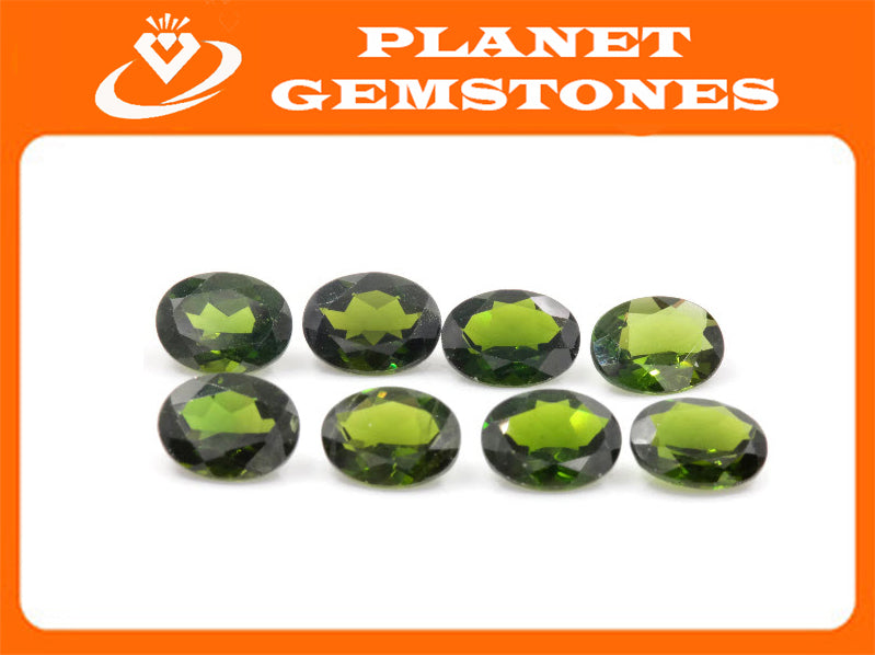 Natural Chrome diopside Green Gemstone Russian diopside Green Diopside DIY jewelry supplies Faceted Chrome diopside 9x7mm Oval-Planet Gemstones