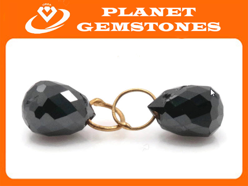 Black Diamond Diamond Briolette Black Diamond Beads Black Diamond Drops Natural Black Diamond For April Beads 18KT YG 5x4MM 1.40CT-Planet Gemstones