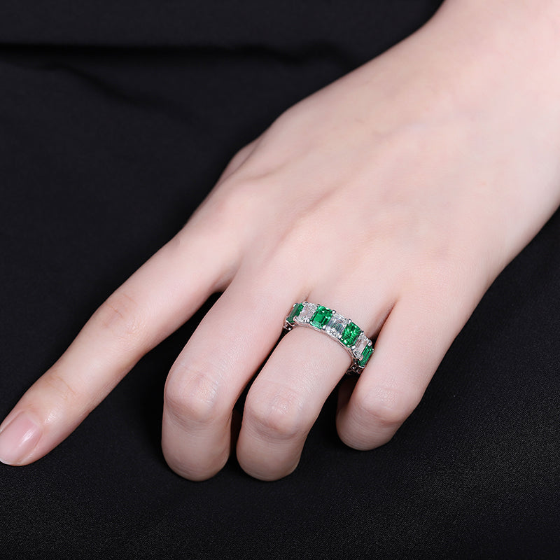 Emerald Necklace Ring Emerald charms Emerald Ring Eternity band ring Engagement band Emerald Wedding band Cubic zirconia ring CZ eternity band SKU:6142035-Planet Gemstones