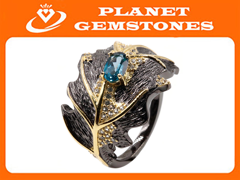 Topaz Ring Topaz Jewelry Topaz Ring Natural Topaz Genuine Topaz Jewelry November Birthstone Silver Jewelry SKU:6142053-Blue Topaz-Planet Gemstones
