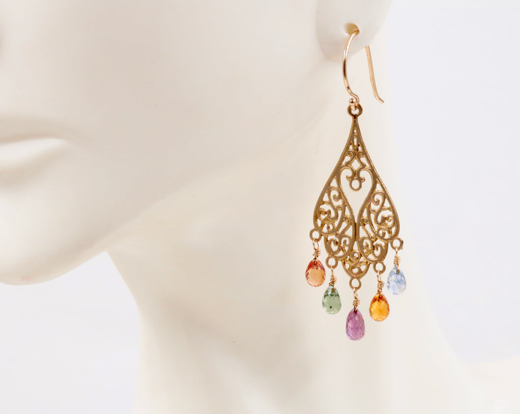 14KY Gold Multicolor sapphire party earrings Long Drop Earrings SKU:6142203-earrings-Planet Gemstones