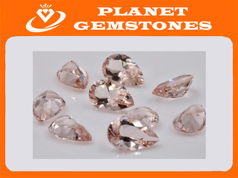 Morganite Natural Morganite Pink Morganite DIY Jewelry supplies Morganite Loose Morganite Gemstone Peach Morganite Pear shape 8x5mm 0.85ct-Planet Gemstones