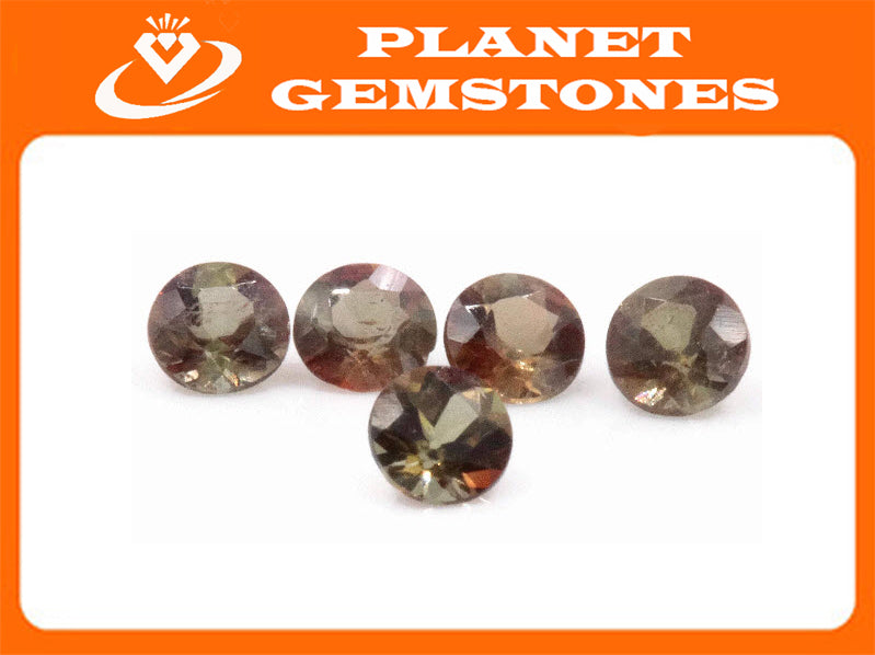 Natural Andalusite Andalusite Gemstone Genuine Andalusite Poor Man Alexandrite Faceted Andalusite DIY ANDALUSITE 5PCS SET 3.5mm 0.9ct-Planet Gemstones