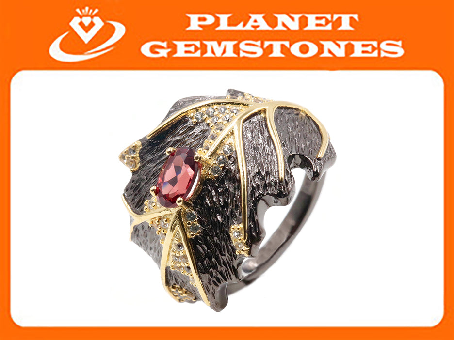Garnet Ring Garnet Jewelry Garnet Ring Natural Garnet Genuine Garnet Jewelry January Birthstone Silver Jewelry SKU:6142047-Garnet-Planet Gemstones