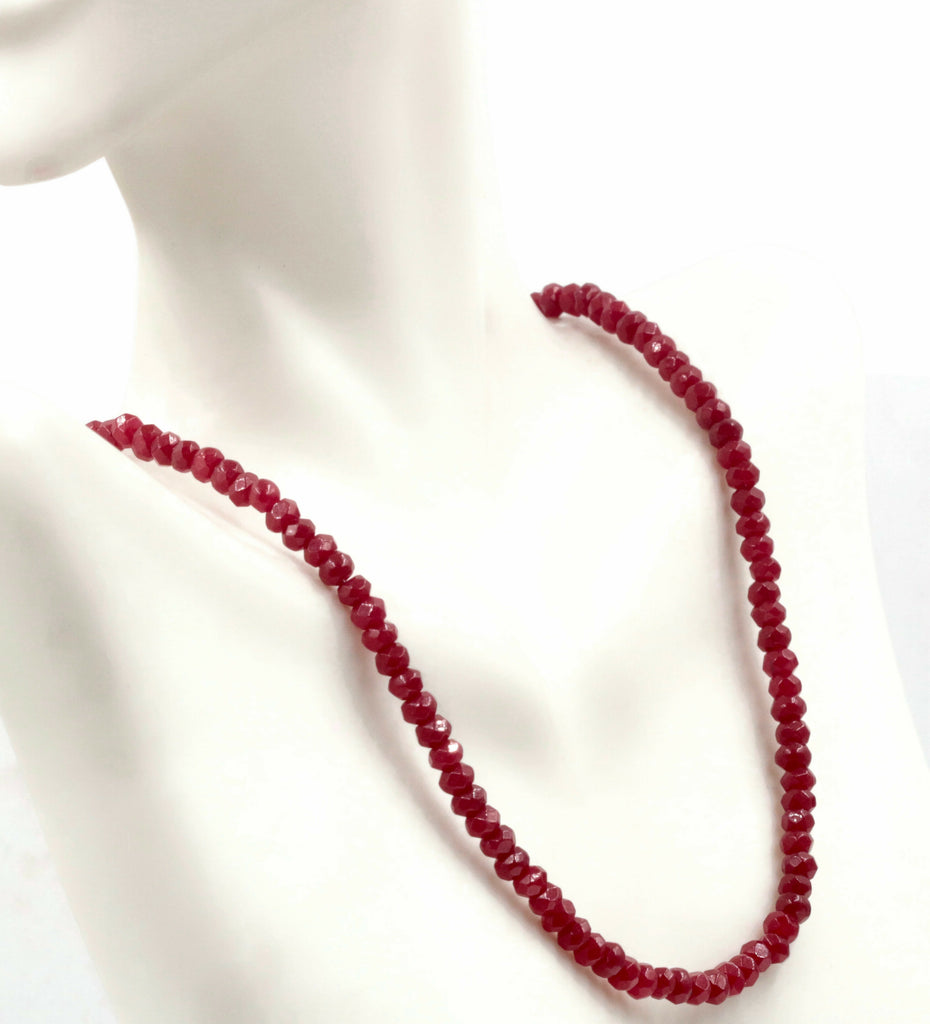 Natural Red Ruby gemstone Necklace Ruby Strand Jewelry Ruby stone Necklace Red Ruby RD Necklace Ruby Beads SKU: 6142168,6142169-Jade-Planet Gemstones