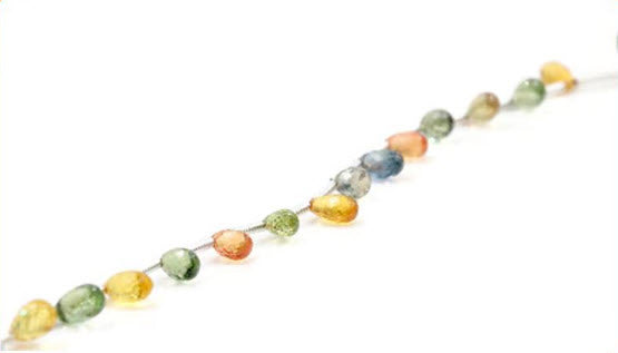 Natural Multi-Color Sapphire Necklace Sapphire Beads September birthstone pink, blue, orange sapphire green Approx 5x3mm PR SKU:113036-Planet Gemstones