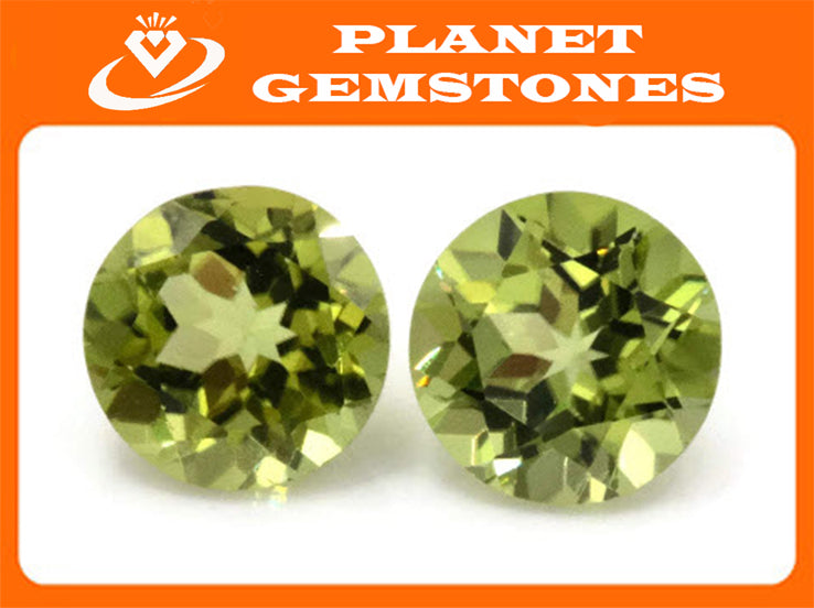 Natural Green Peridot Gemstone 7mm 2.71ct Round Matching Pair August Birthstone DIY Jewelry Supplies Peridot Gift for Her-Planet Gemstones