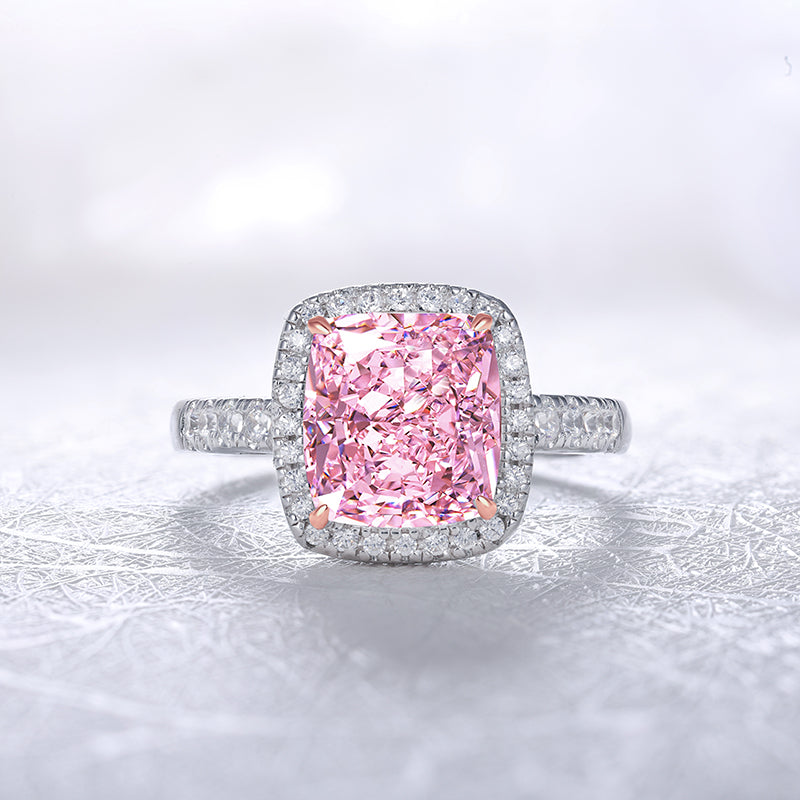 Luxury Womens halo ring with Pink, Yellow and white JEWELEMS Diamonds-Planet Gemstones