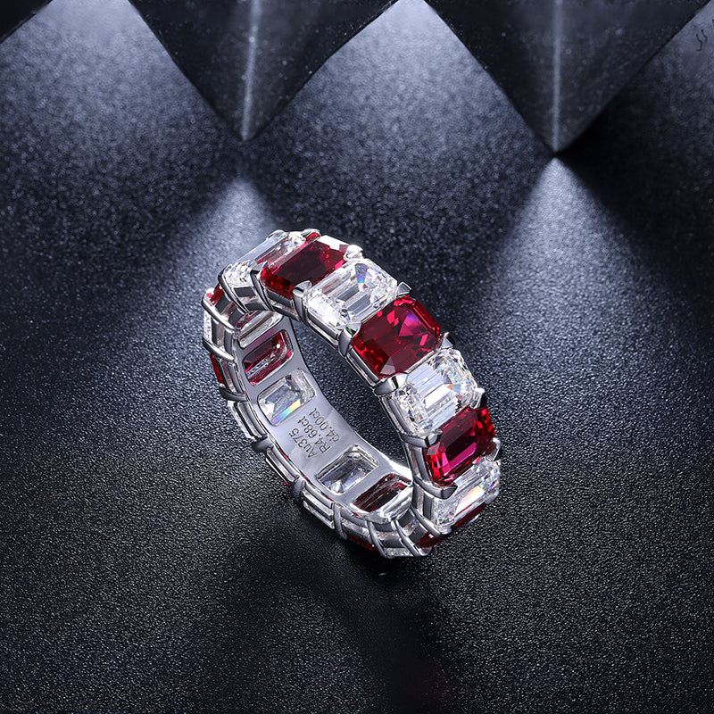 Ruby band Ring Ruby Eternity Ruby Ring Eternity band ring Engagement band Ruby Wedding band Cubic Zirconia ring CZ eternity band SKU:6142036-Planet Gemstones