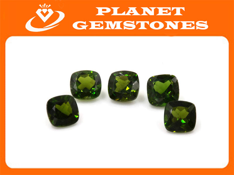 Natural Chrome diopside Green Gemstone Russian diopside Green Diopside DIY jewelry supplies Faceted Chrome diopside cushion 6mm 1.08ct-Planet Gemstones