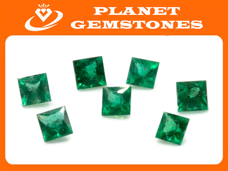 Emerald Natural Emerald May Birthstone Zambian Emerald square Emerald Gemstone Diy Jewelry Supplies DIY Jewelry 0.15ct 3mm Emerald Green-Emerald-Planet Gemstones