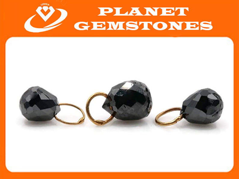 Black Diamond Diamond Briolette Black Diamond Beads Black Diamond Drops Natural Black Diamond For April Beads 18KT YG 4x6MM 3x4MM 1.8CT-Planet Gemstones
