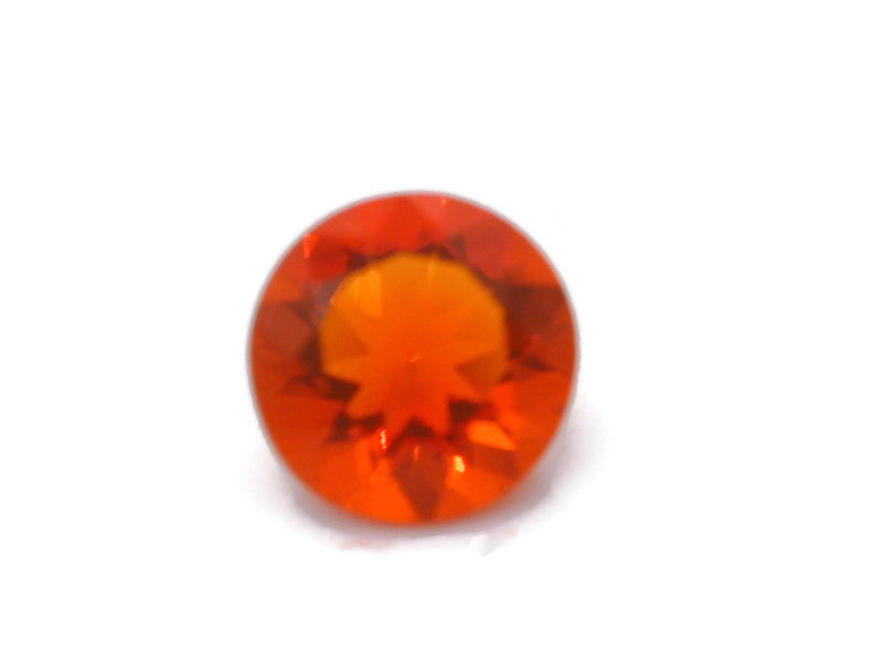 Natural Fire Opal Mexican Fire Opal October birthstone Fire Opal Gemstone Faceted Fire Opal Fire Loose Stone Round 7.8mm 1.20 cts SKU:105175-opal-Planet Gemstones
