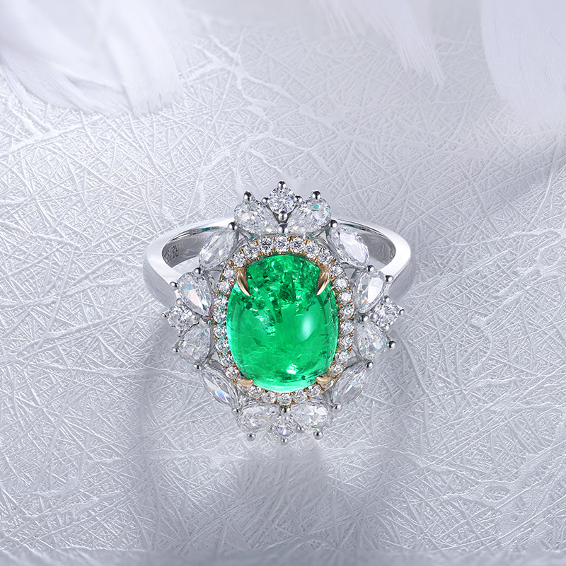Women's luxury cocktail ring with colombian emerald and jewelems diamond-Planet Gemstones