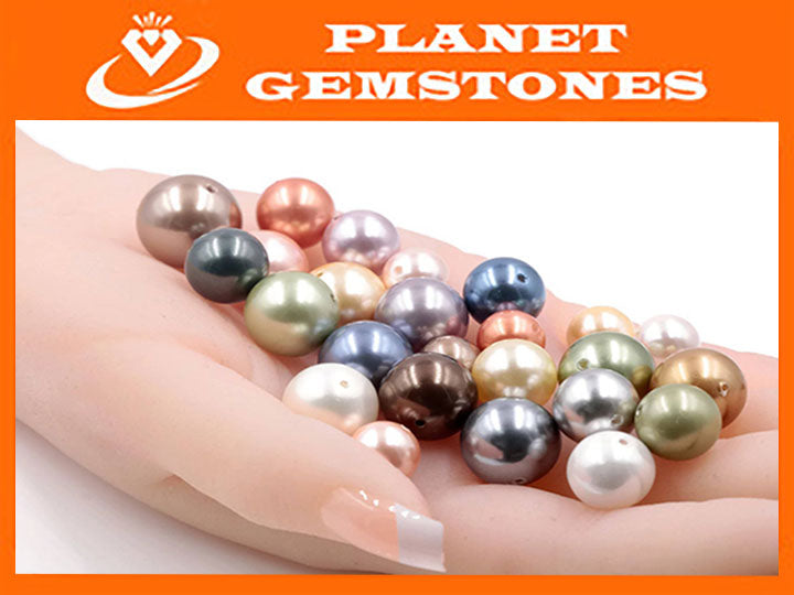 Immitation Pearls loose pearls shell pearls Gemstone Beads and Pearls 10,12mm&14mm SKU: 114501, 114502, 114503-PEARL-Planet Gemstones