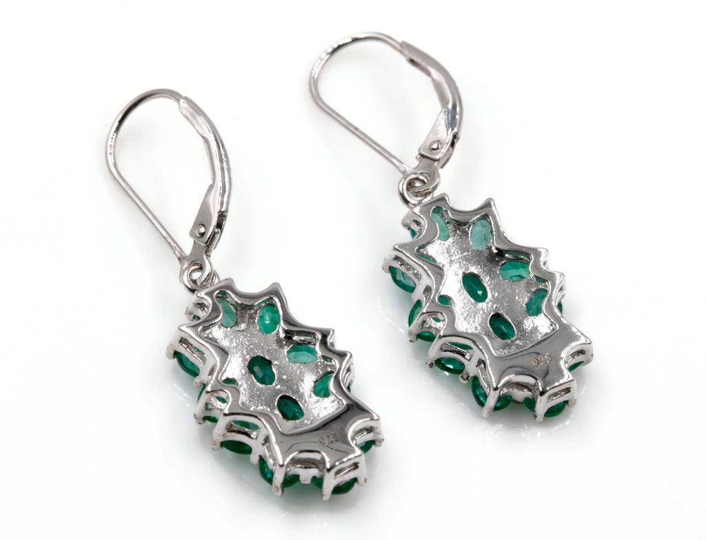 Natural Emerald Emerald dangle Earrings SKU:6142030-Emerald-Planet Gemstones