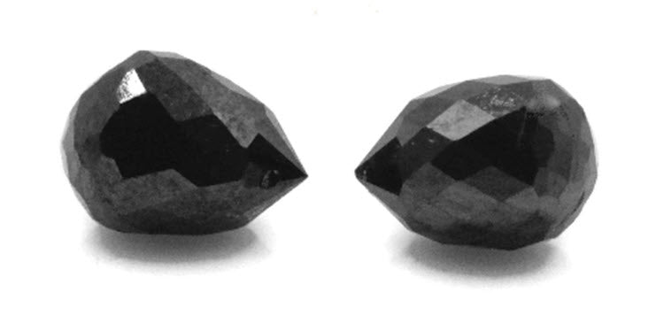 Black Diamond Diamond Briolette Black Diamond Beads Black Diamond Drops Natural Black Diamond For April Beads 4X3MM 1.20CT PAIR-Planet Gemstones