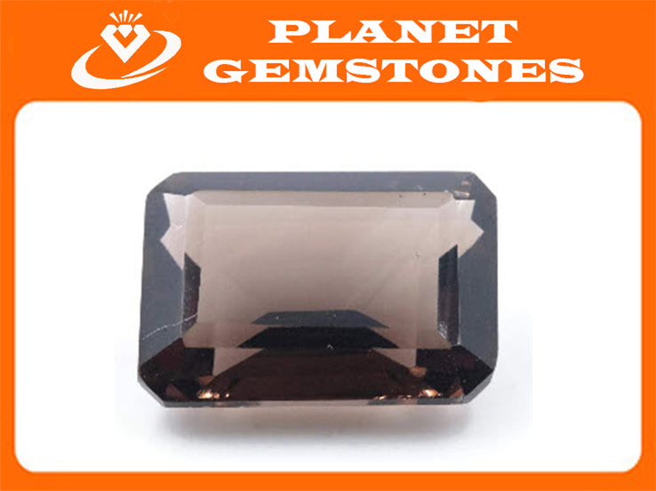 Natural Quartz Natural Smoky Quartz Smoky Vintage Quartz DIY Jewelry Loose Stone Smoky Quartz Emerald Cut 18x13mm 13ct SKU:113051-Planet Gemstones