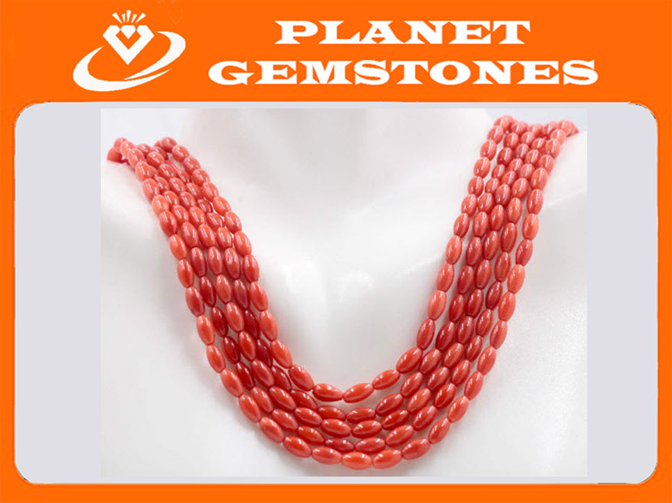 "Natural Coral Beads Coral Necklace Italian Coral beads Red Coral Beads Coral Beads Red Coral Beads Coral Bead Necklace 16"" 6x3mm SKU:113166-Planet Gemstones"