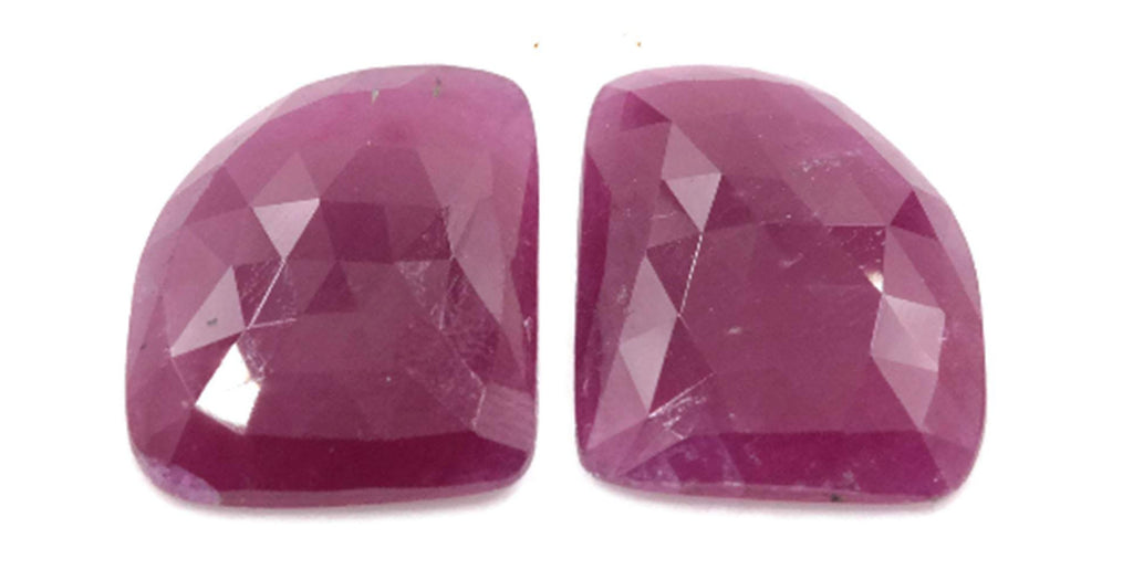 Natural Ruby DIY Jewelry Supply Ruby July Birthstone Rose Cut Ruby Gemstone Genuine Ruby Ruby pair 19.65 ct 17x13.5 mm Ruby Rose cut-Ruby-Planet Gemstones