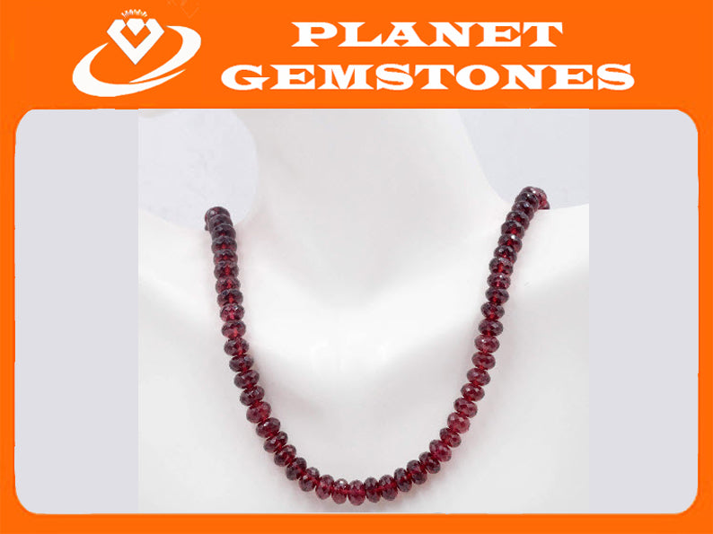 14k YG Red GARNET, Faceted Roundel , 6-7mm, 18 Inches, SKU: 00108924-Planet Gemstones