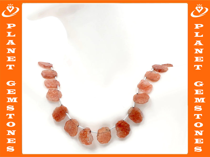 Natural Sunstone Genuine Sunstone Loose Beads Sunstone Necklace Sunstone Beads Natural Sunstone Beads 4-8 Inch SKU:108538,108539-Sunstone-Planet Gemstones