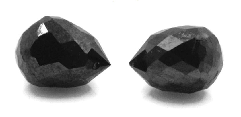 Black Diamond Diamond Briolette Black Diamond Beads Black Diamond Drops Natural Black Diamond For April Beads 4X3MM 1.22CT PAIR-Planet Gemstones