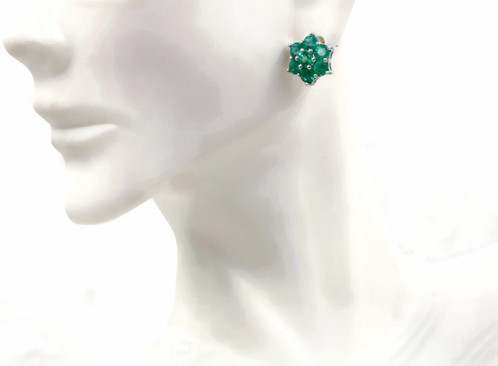 Natural Emerald Emerald cluster stud Earrings SKU:6142032-Emerald-Planet Gemstones