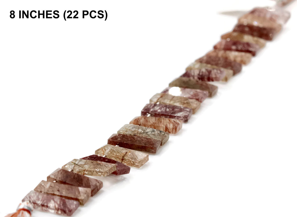 Natural Multi Colored RUTILE, rectangular shape, 8 Inches, Extremely Beautiful Piece Multi Colored Rutile Quartz 18x7mm SKU:108588-QUARTZ-Planet Gemstones