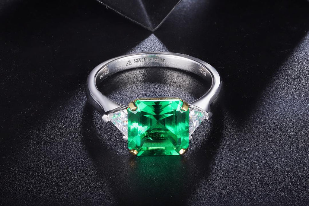 Luxury stunning ladies emerald ring with jewelems stones in two tone 1-3ct-Planet Gemstones