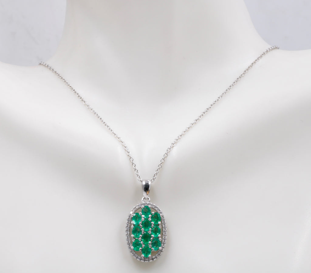Natural Emerald Emerald Pendant Necklace SKU:6142031-Emerald-Planet Gemstones