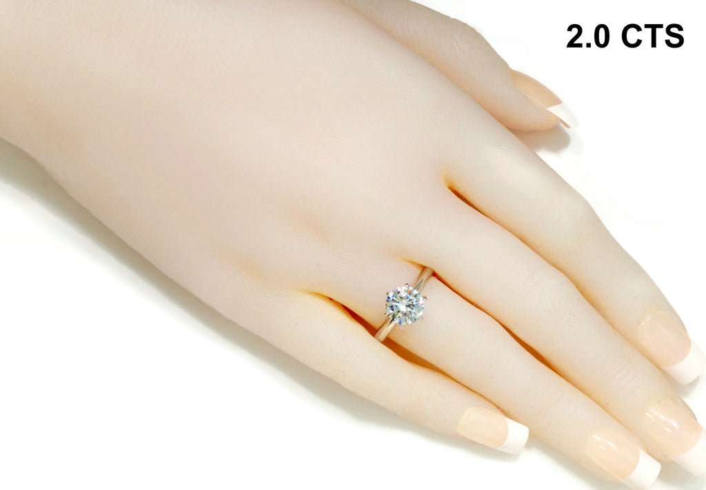 Ladies Luxury Jewelems stones solitaire look alike diamond ring 1-2ct-Planet Gemstones