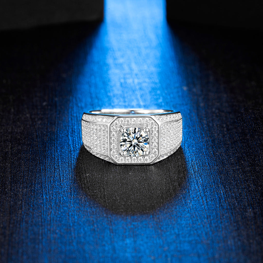 Moissanite Ring Moissanite Mens ring Solitaire Ring Mens Solitaire Ring Promise ring Mens Ring Mens Wedding Ring Mens Engagement ring-Planet Gemstones