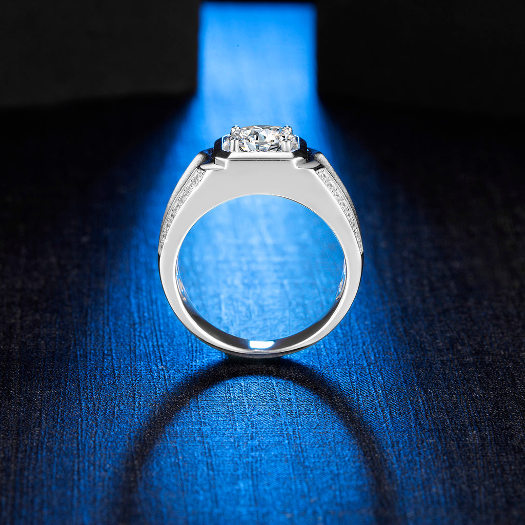 Moissanite Ring Moissanite Mens ring white Moissanite Ring Natural Moissanite Wedding Ring SKU: 6142020-Moissanite-Planet Gemstones