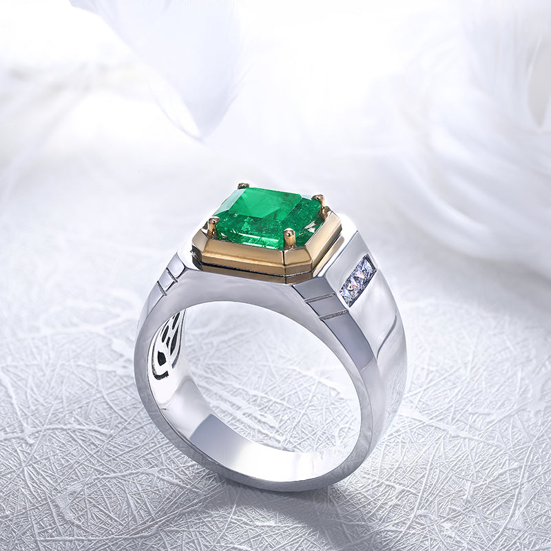 Unisex two tone colombian emerald halo ring-Planet Gemstones