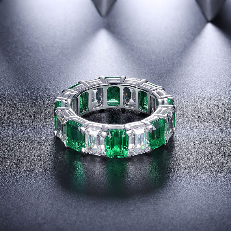 Emerald band Ring Emerald Eternity Emerald Ring Eternity band ring Engagement band Emerald Wedding band Cubic zirconia ring CZ eternity band SKU:6142035-Planet Gemstones