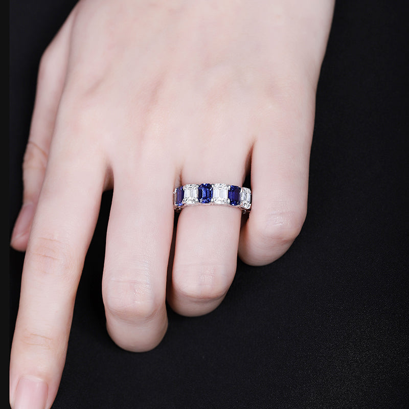Sapphire Band Ring Sapphire Eternity Band Sapphire Ring Eternity Band Ring Engagement Band Sapphire Wedding Band Cubic Zirconia Ring CZ Eternity Band SKU:6142037-Planet Gemstones