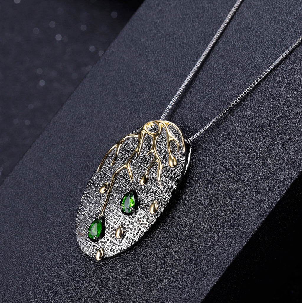 Dainty Necklace Aesthetic Plant Pendant Necklace 925 Sterling Silver Necklace Tree Statement Pendant Necklace For Women-necklace-Planet Gemstones
