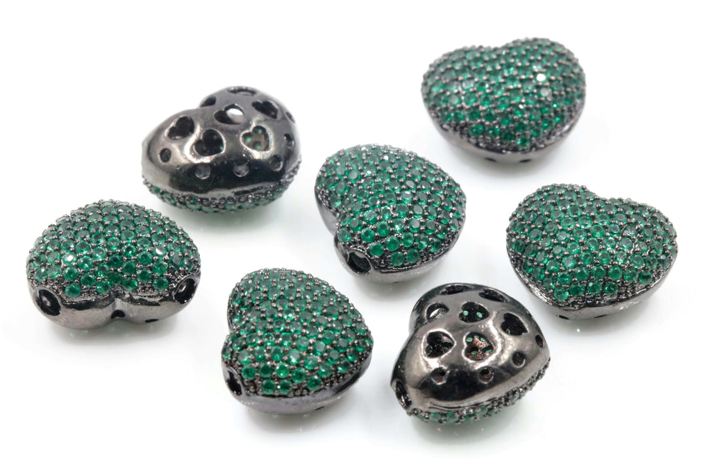 1PC Black Rhodium plated Red, Green or Blue Micro Pave Beads Heart Shape 12x15mm SKU: 6142287,88,89-Beads-Planet Gemstones