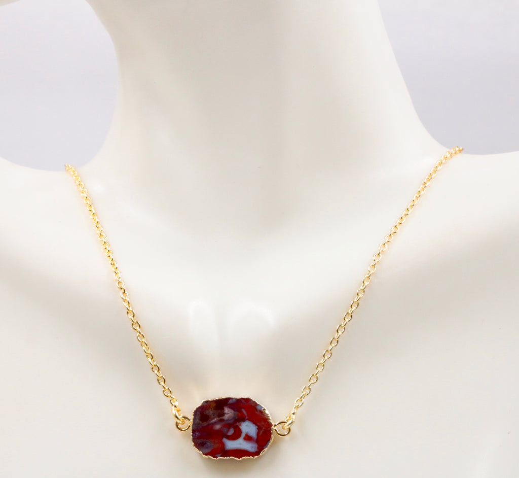 Gemstone Connector Slice Pendant Necklace SKU: 6142218-necklace-Planet Gemstones