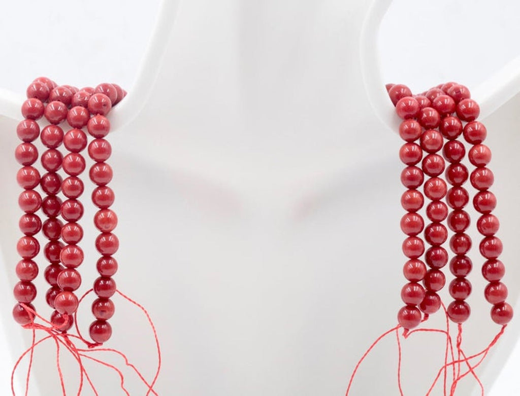 "Natural Coral Beads Coral Necklace Italian Coral beads Red Coral Beads Coral Beads Red Coral Beads Coral Bead Necklace 16"" 6-10mm-Coral-Planet Gemstones"