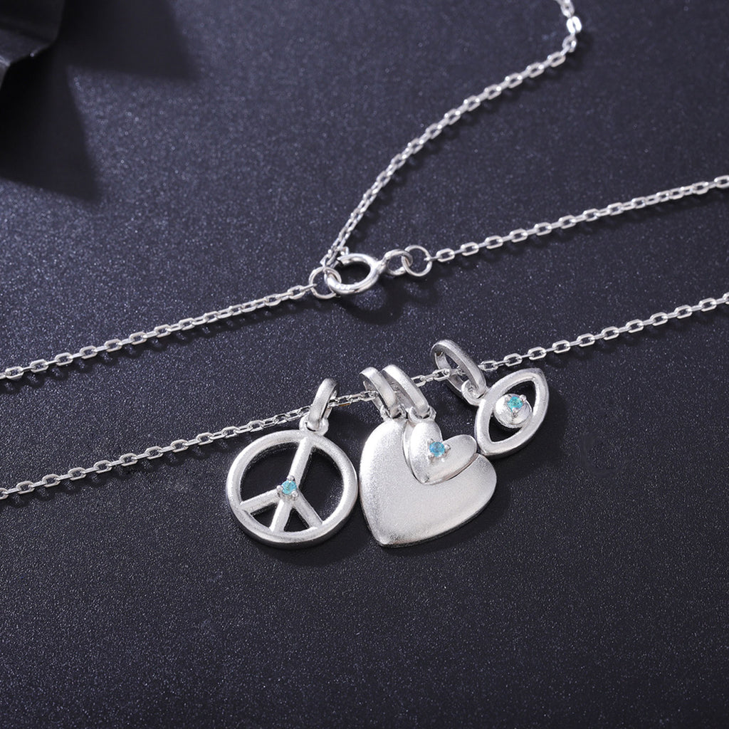 Twin heart, peace and evil eye necklace with phenomenal gemstones alexandrite-Charms Jewelry-Planet Gemstones